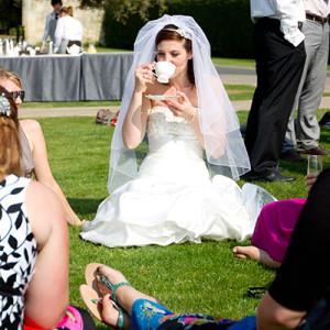Bride drinking tea