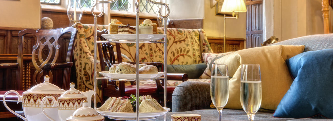 a photo of champagne Afternoon tea in the great hall