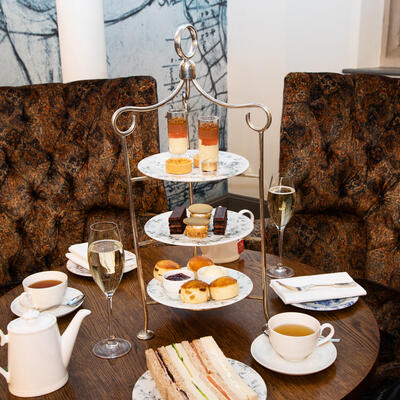 this is a photo of Afternoon tea with champagne