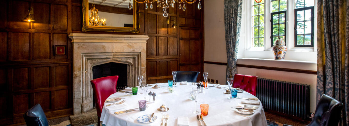 a photo of a dinner table in a Private dining room