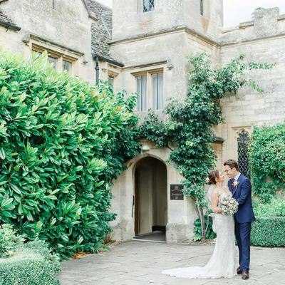 this is a photo of a bride and groom standing outside of ellenborough park