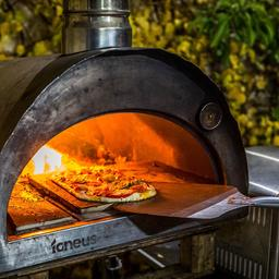 this is a photo of a person putting a pizza into a pizza oven
