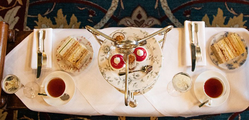 this is a photo of afternoon tea in the great hall