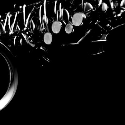 saxophone in black and white